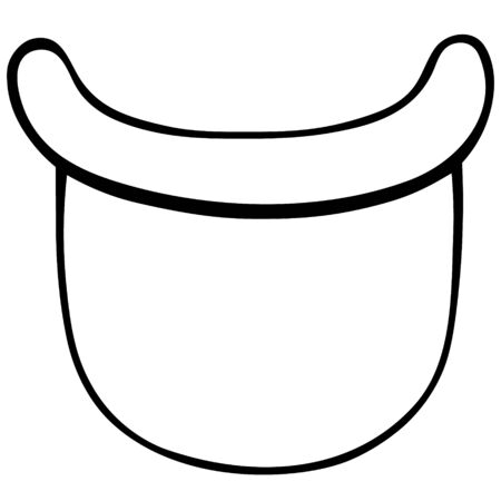 Plastic face mask. Vector illustration. Personal protective equipment against coronavirus infection COVID-19. Outline on an isolated background. An idea for educational literature. Medical subject. Doodle style. Sketch
