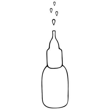 A bottle of nasal spray. Nasal drops. Medication for relieving congestion. Vector illustration. The drug is sold without a prescription. Outline on an isolated background. Doodle style. Medical subject. Sketch