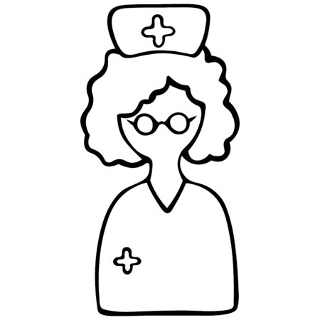 Nurses in a cap. One with glasses, the other with a medical mask. Vector set of icons. Doctor anonymous. Outline on an isolated background. Doodle style. The subject of health. Sketch Illustration for web design. 向量圖像
