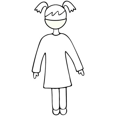 A girl in a medical mask due to an outbreak of Covid-19 coronavirus infection. Vector illustration. Outline on an isolated background. Doodle style. Its better to stay at home. No color. Sketch 向量圖像