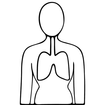 A lung of the patient. The respiratory system is more susceptible to complications from covid19 infection. Vector icon. Outline on an isolated background. Doodle style. Sketch Anatomy of the human body. Medical subject. Vettoriali