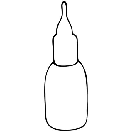 A bottle of nasal spray. Nasal drops. Medication for relieving congestion. Vector illustration. Space for text. Outline on an isolated background. Doodle style. Medical subject. Sketch