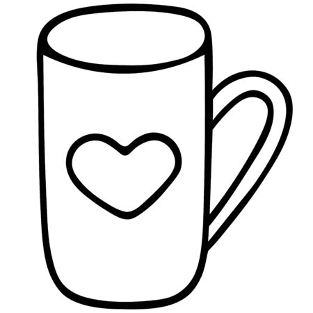 Mug with a heart. Dishes for a hot drink. A pause for a cup of tea. Vector illustration. Contour on an isolated background. Doodle style. Sketch Love mug design.