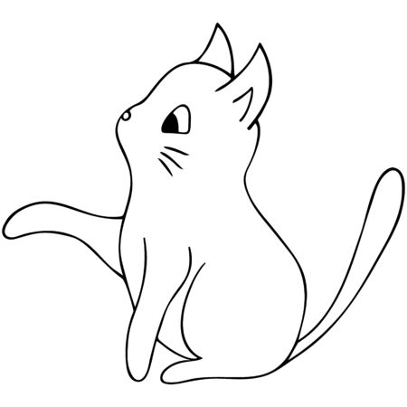 Kitten. House Favorite. Furry scoundrel. Vector illustration. Outline on an isolated background. Doodle style. Sketch of a cat. Hand drawing. Nursling. Coloring book for children.
