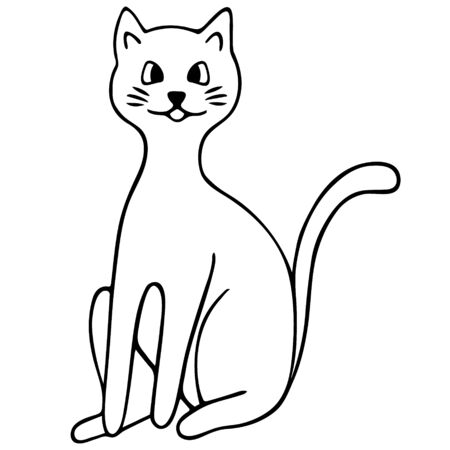 Cat. Pet Furry scoundrel. Vector illustration. Outline on an isolated background. Doodle style. Sketch of a kitten. Hand drawing. Nursling. Coloring book for children.  イラスト・ベクター素材