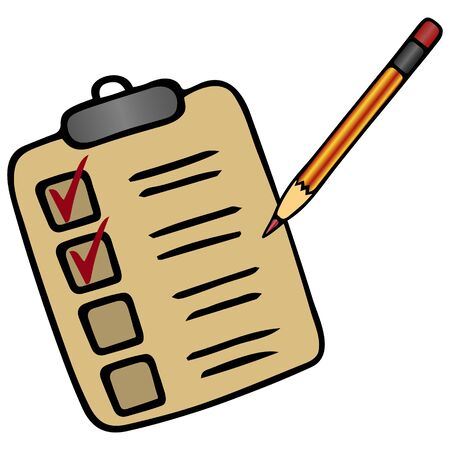 A to-do list of items. Checkmark with a pencil. Color vector illustration. Work online under quarantine. Voting ballot. Plan on an isolated white background. Cartoon style. Illustration for web design.
