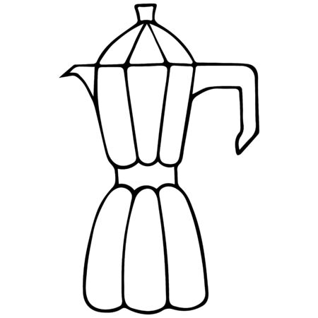 Geyser coffee maker. Utensils for brewing morning coffee. Vector illustration in doodle style. Contour on an isolated white background. Sketch Kitchenware. Making a flavoring drink under pressure. Illustration for web design, menu. Vectores