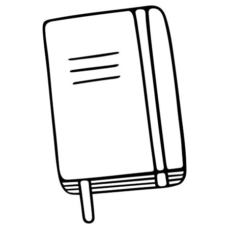 Notebook for to-do list. The diary. Notepad for notes. Diary - a notebook for conducting daily notes. Contour on an isolated background. Doodle style. Sketch Illustration for web design.