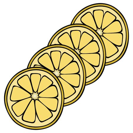 Slices of lemon in the shape of a circle for making a cocktail. The citrus fruit contains vitamin C. Mugs on a white isolated background. Color vector illustration. It is used in medicine and in cooking. Cartoon style. Idea for web design, menu.