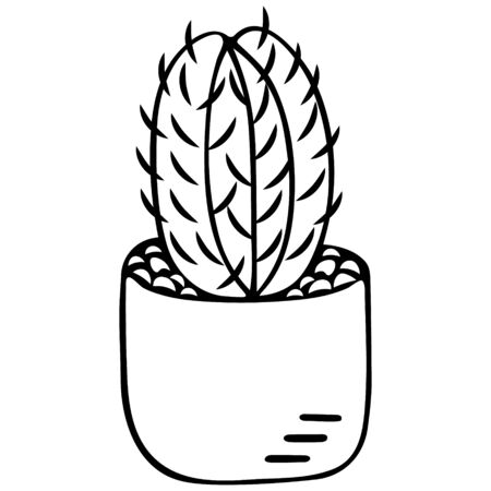 Cactus in a pot. Indoor plant with thorns. Monitor electromagnetic radiation protection. Vector illustration. Contour on an isolated white background. Doodle style. Sketch Coloring book for children. Illustration idea for web design, book.