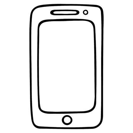 Touchscreen smartphone. A device for making calls, reading books, accessing the Internet. Vector illustration. Contour on an isolated white background. Doodle style. Sketch Space for text on screen. Modern device. Illusztráció