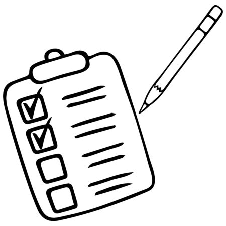 A to-do list of items. Checkmark with a pencil. Plan. Vector illustration. Work online under quarantine. Voting ballot. Contour on an isolated white background. Doodle style. Sketch Illustration for web design.