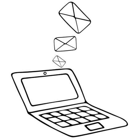 Email and laptop. Letters in an envelope. Vector illustration. Contour on an isolated white background. Doodle style. Sketch Email message to the recipient. Newsletter Space for text on screen.