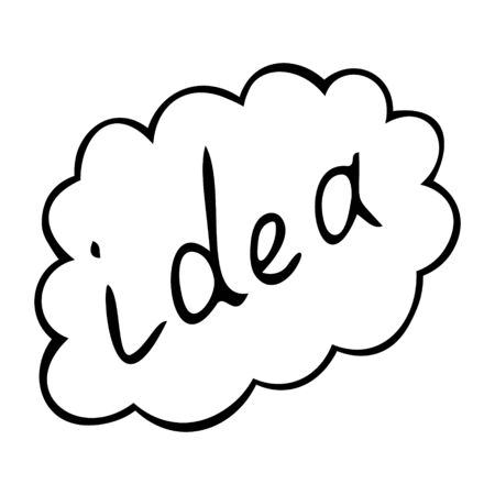 Idea in the cloud. Lettering. Vector illustration. Contour on an isolated white background. Doodle style. Sketch Business element. A good decision occurred to me. Flight of thought. Generation. Development strategy. Symbol of success.