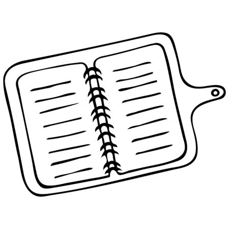 Notepad on a spring with a button. Open Contour on an isolated white background. Doodle style. Sketch Notebook for to-do list. The diary. Book for notes. Stationery for work and study.  イラスト・ベクター素材