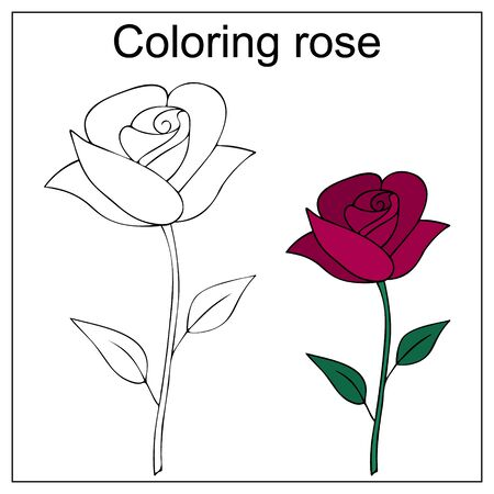 Rose flower. Color by example. Vector illustration on a white isolated background. Coloring book for children. Educational illustration. Idea for book, sticker. Delicate flower. Popular gardening culture. Vecteurs
