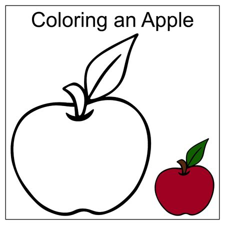 Apple with a leaf. Color by example. Vector illustration on a white isolated background. Coloring book for children. Educational illustration. Idea for book, sticker. Fresh diet product. Vitamin fruit.