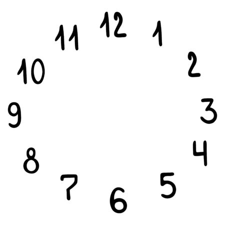 Watch dial. A set of numbers arranged in a circle. Vector illustration. Contour on an isolated white background. Doodle style. Sketch Time Design element. Scale. Collection. Illusztráció