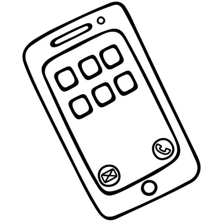 Touchscreen smartphone. A device for making calls, reading books, accessing the Internet. Vector illustration. Contour on an isolated white background. Doodle style. Sketch The menu, the call button and SMS are open on the screen. Modern device.