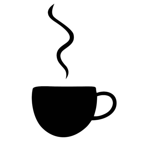 A cup of hot coffee. Silhouette. Color vector illustration. Steam rises into the air. An invigorating drink on an isolated white background. Idea for menu, web design. The icon. Great start to the day.