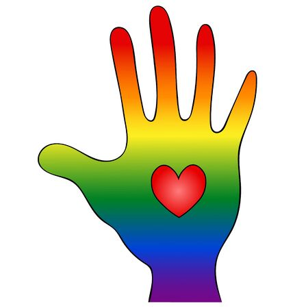 Palm and heart. Symbolism of the LGBT Rainbow Flag. Vector illustration. Hand on an isolated white background. The personification of pride and openness. International symbol. Idea for web design, sticker.