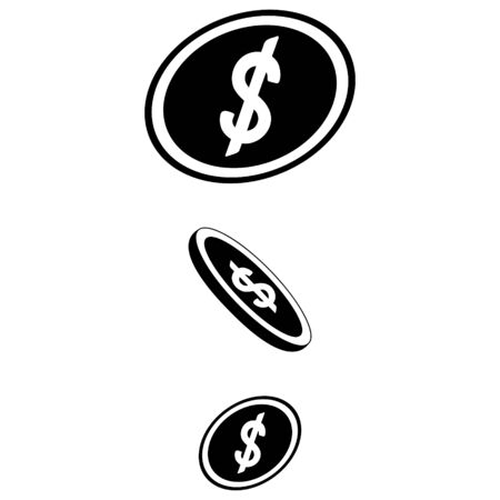 US dollar symbol. Falling coins. Vector illustration. Icon on an isolated white background. Flat style. Monetary currency. Subjects of business and finance. Illustration for web design, iconography.