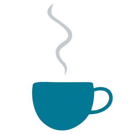 A cup of hot coffee. Color vector illustration. Steam rises into the air. An invigorating drink on an isolated white background. Idea for menu, web design. Flat style. Great start to the day.