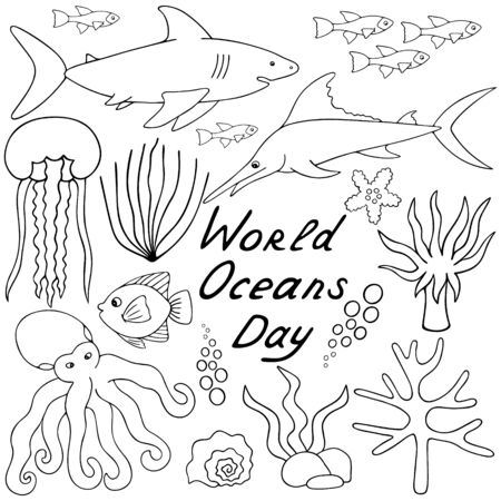 Undersea world. Vector set of illustrations. Outline on a white isolated background. The inhabitants of the ocean. Hand drawing style. Sketch Sea creatures. Shark, reef, jellyfish. Coloring book for children and adults. Idea for web design, books.