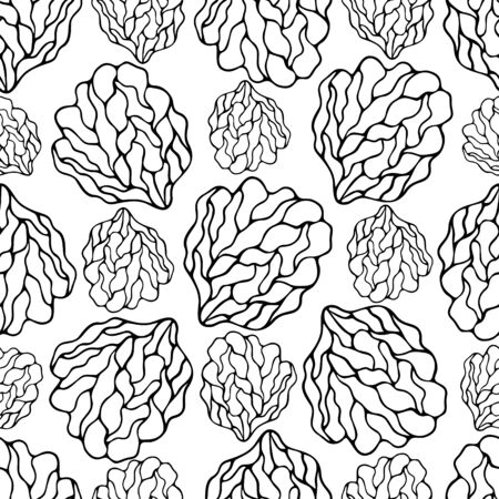 Coral reef. Sea sponge. Endless vector pattern on a colorless isolated background. Hand drawing style. Elegant seamless ornament. Idea for textile, wrapping paper, cover, background, wallpaper.
