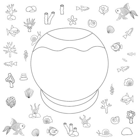Educational game for a child. Aquarium. Designer They put their Pets in the house. Vector set. Outline on an isolated white background. Sketch Puzzle Coloring book. An idea for web design, educational literature. Fish, corals, seashells. Hand drawing style.