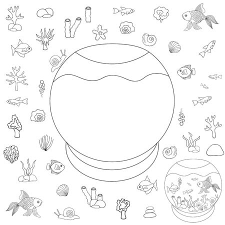 Aquarium. Designer Vector set. They put their Pets in the house. Outline on an isolated white background. Educational game for a child. Sample Sketch Puzzle Coloring book. Idea for web design, educational literature. Fish, corals, seashells. Hand drawing style.  イラスト・ベクター素材