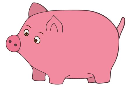 The pink pig. Color vector illustration. A pet. Animal on an isolated white background. Cartoon style. Chubby kid from the farm. Mumps with a tail in the form of a hook. Full mammal with a funny spout.