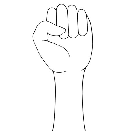 Stop racism. Sketch Fist raised to the top. Sign of protest. The struggle for rights and justice. Vector illustration. Outline on an isolated background. Doodle style. Idea for web design, poster, banner.