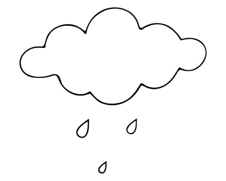 Rain Cloud and raindrops. Sketch Vector illustration. Outline on an isolated white background. The beginning of a downpour. Weather forecast. The sky is crying with pure tears. Doodle style. Vacation mood. Drops are dripping from heaven. Idea for web design. Foto de archivo - 149582098