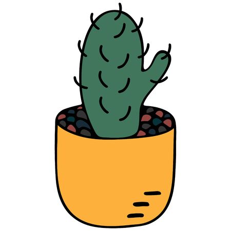 Cactus in a pot. Vector illustration on an isolated white background. Indoor plant with thorns to create coziness in the interior. Stay safe at home. Cartoon style. Illustration idea for web design, sticker. Monitor electromagnetic radiation protection.