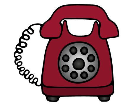 Landline telephone. Color vector illustration. A device for receiving and transmitting sound at a distance. The device with a disk dialer on an isolated white background. Retro model of red color. Cartoon style. Stock Illustratie
