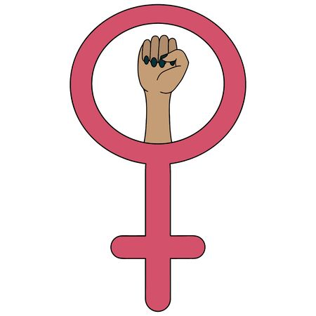 Symbol of the feminist movement illustration on an isolated white background. Hand of an asian woman. The struggle for the rights of women around the world. A clenched fist in the mirror of Venus. Cartoon style. Idea for sticker, web design, poster, banner. Sign of gender identity.