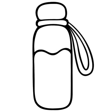 Plastic bottle for water. Sketch Vector illustration. Outline on an isolated white background. Doodle style. Reusable liquid container. Sports accessory. A drink for the tone of the body. The mood to travel. Idea for web design. Bottle with strap and cap.