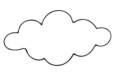 Cloud Sketch Weather forecast. Vector illustration. Outline on an isolated white background. Meteorology conditions. The calm before the storm. Curly shape. Doodle style. Vacation mood. Idea for web design. Fluffy skies.