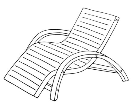 Chaise lounge. Vector illustration. Outline on an isolated white background. Doodle style. Sketch Sunbed beach. Convenient place for sunbathing. The device for a summer holiday near the water. Beach chair. Wooden beach bench.