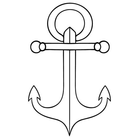 Anchor. Symbol of seafaring. Sketch Vector illustration. Outline on an isolated white background. Doodle style. Device to hold the ship, submarine, raft. Special cast, forged construction. Marine decorative element.