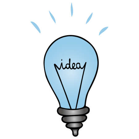 Idea and light bulb. Vector illustration in cartoon style. Lettering. Isolated white background. Business element.