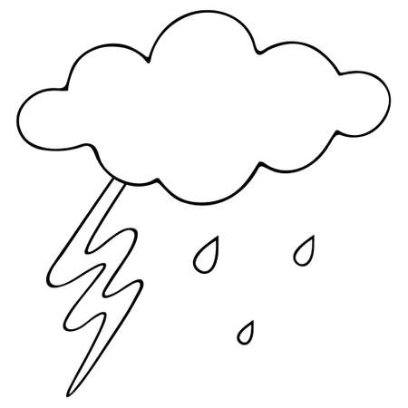 Lightning, cloud and raindrops. Sketch Storm Vector illustration. Outline on an isolated white background. Weather forecast. The beginning of a downpour. Doodle style. Bright electric discharge. Drops are dripping from heaven. Idea for web design. Illustration