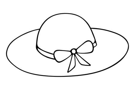 The hat is female. Sketch Straw hat with bow. Vector illustration. Outline on an isolated white background. Sun protection. Beachfront napper. Doodle style. Vacation mood. Idea for web design. Coloring Illustration