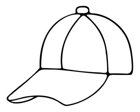 Baseball cap. Sketch Unisex cap. Vector illustration. Outline on an isolated white background. Sun protection. Summer hat with a visor. Doodle style. Vacation mood. Idea for web design. Coloring Cap for men and women. Hat for sports. Sports fashion.