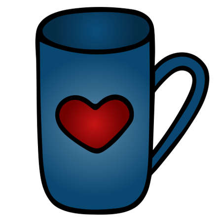 Mug with a heart. Vector illustration. Isolated background. Cartoon style. Love mug design. Dishes for a hot drink. A pause for a cup of tea. Idea for web design, menu. Valentine Day. Work online. Treat yourself to a coffee. Tea ceremony.