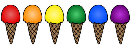 Ice cream colors of the rainbow pride flag. Vector set illustration. A collection of sweets on an isolated white background. LGBT Crispy waffle cone. International symbol. Cartoon style. Appetizing refreshing dessert. Summer mood. cone. Milk ball. Idea for menu, web design, sticker. Getting positive emotions. Ilustração