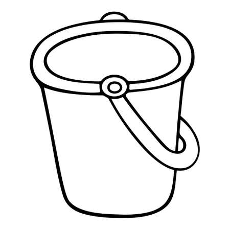 Bucket. Sketch Vector illustration. Outline on an isolated white background. Doodle style. Children toy for beach games. Equipment for carrying sand, water. Plastic tool. Idea for web design. Vacation mood.