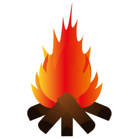 The bonfire burns brightly. Vector illustration. Isolated white background. Hot flame of fire. Ignition of wooden firewood. Camping conditions. Watch the fire and calm down. Back to nature. Idyllic. Ilustrace