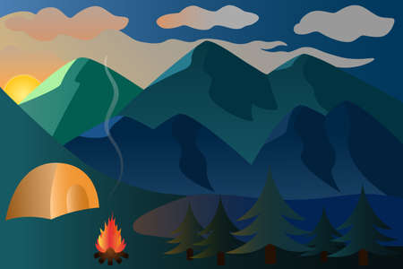 Sunset. Picturesque vector illustration in the fresh air. Mountain landscape. Camping by the lake. A bonfire is set up next to the tent. Flames of fire illuminate the spruce forest. Back to nature.